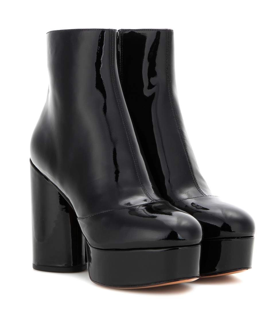 Toe Leather Platform Hiking Boots