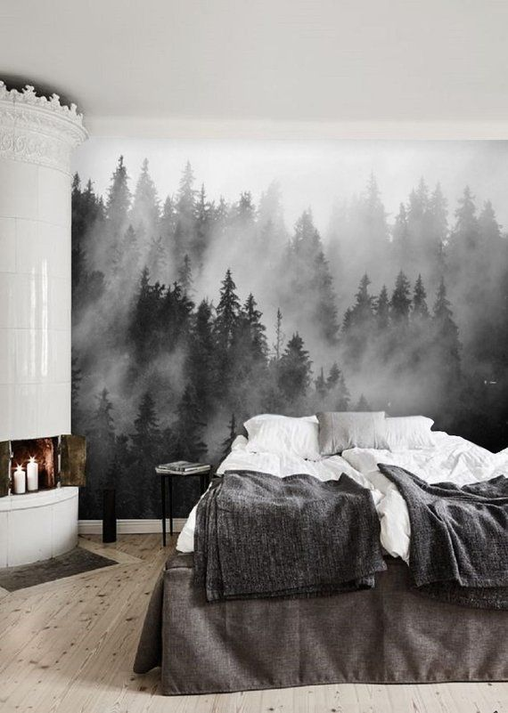 Black and White Forest Wallpaper Mural, Peel and Stick
