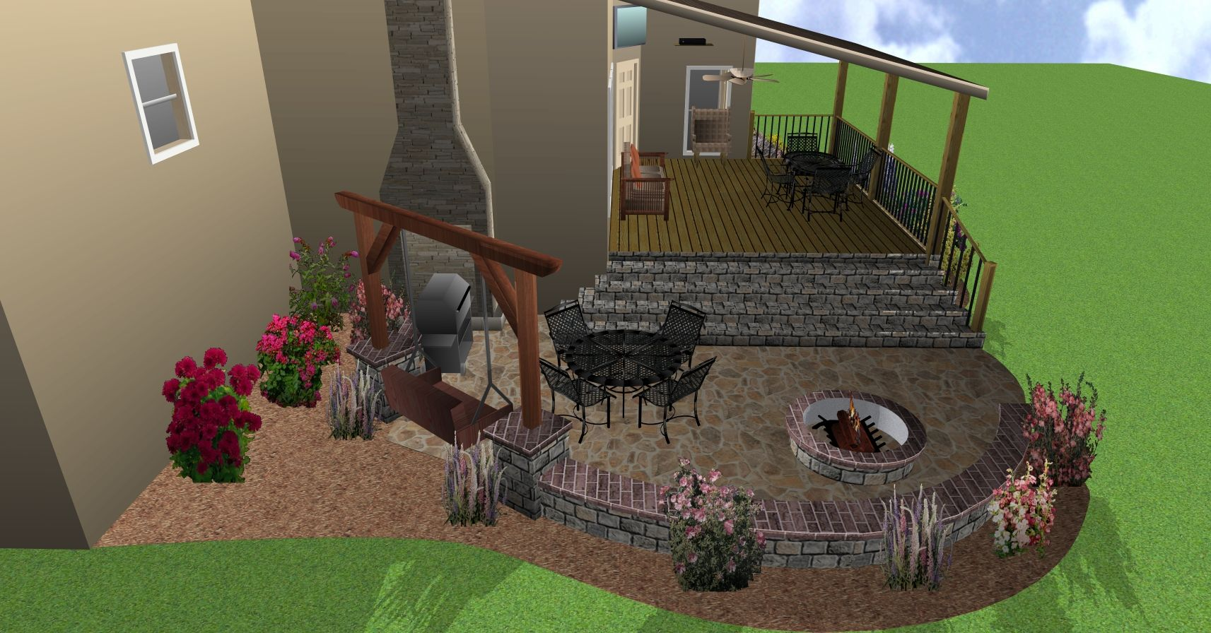 porch swings around fire pit | ... Patio with Stone Steps ...