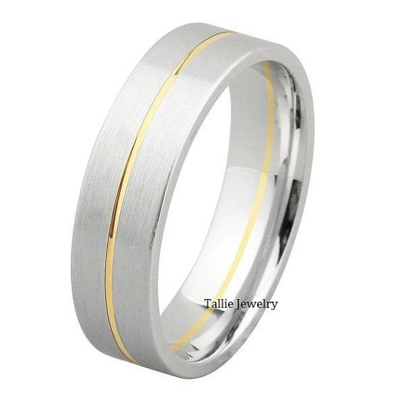 Mens White And Yellow Gold Wedding Band Ring Por Talliejewelry