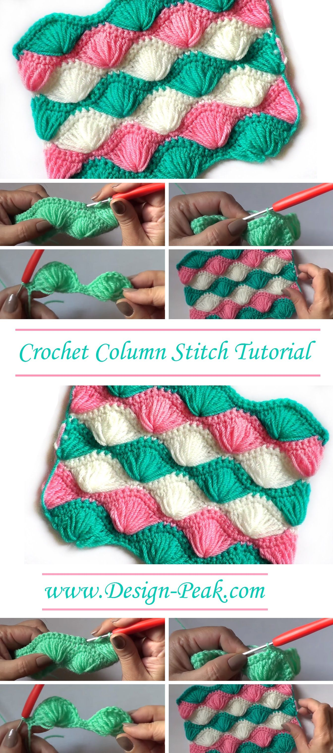 Crochet Column Stitch Tutorial | Crochetmania | Pinterest ...