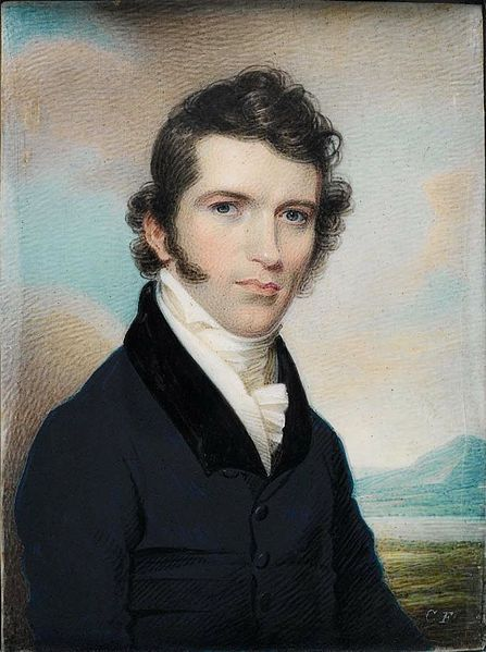 Alvan Fisher - Portrait of the American painter Charles Fraser, 1819.  Watercolor on ivory.