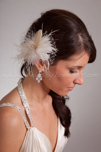 Ivory Wedge Mini Style Birdcage Veil with Detachable Peacock & Ostrich Feather Headpiece-Ivory, Champagne