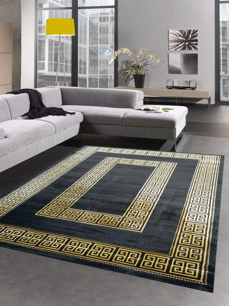 Carpet Living Room With Meander Pattern Border In Black Gold Versace Furniture Living Room Designs Living Room Carpet