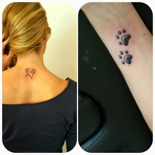 Tatuaje love&huellas de perro