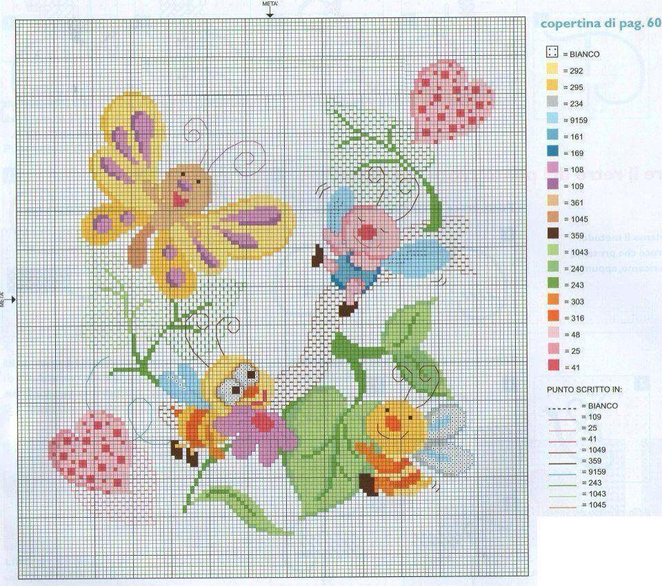 Farfalle | Bordado | Pinterest | Punto de cruz bebe, Punto de cruz y ...