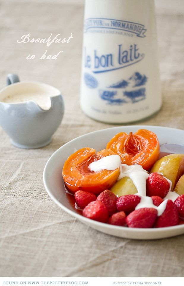 poached fruit with spiced yogurt