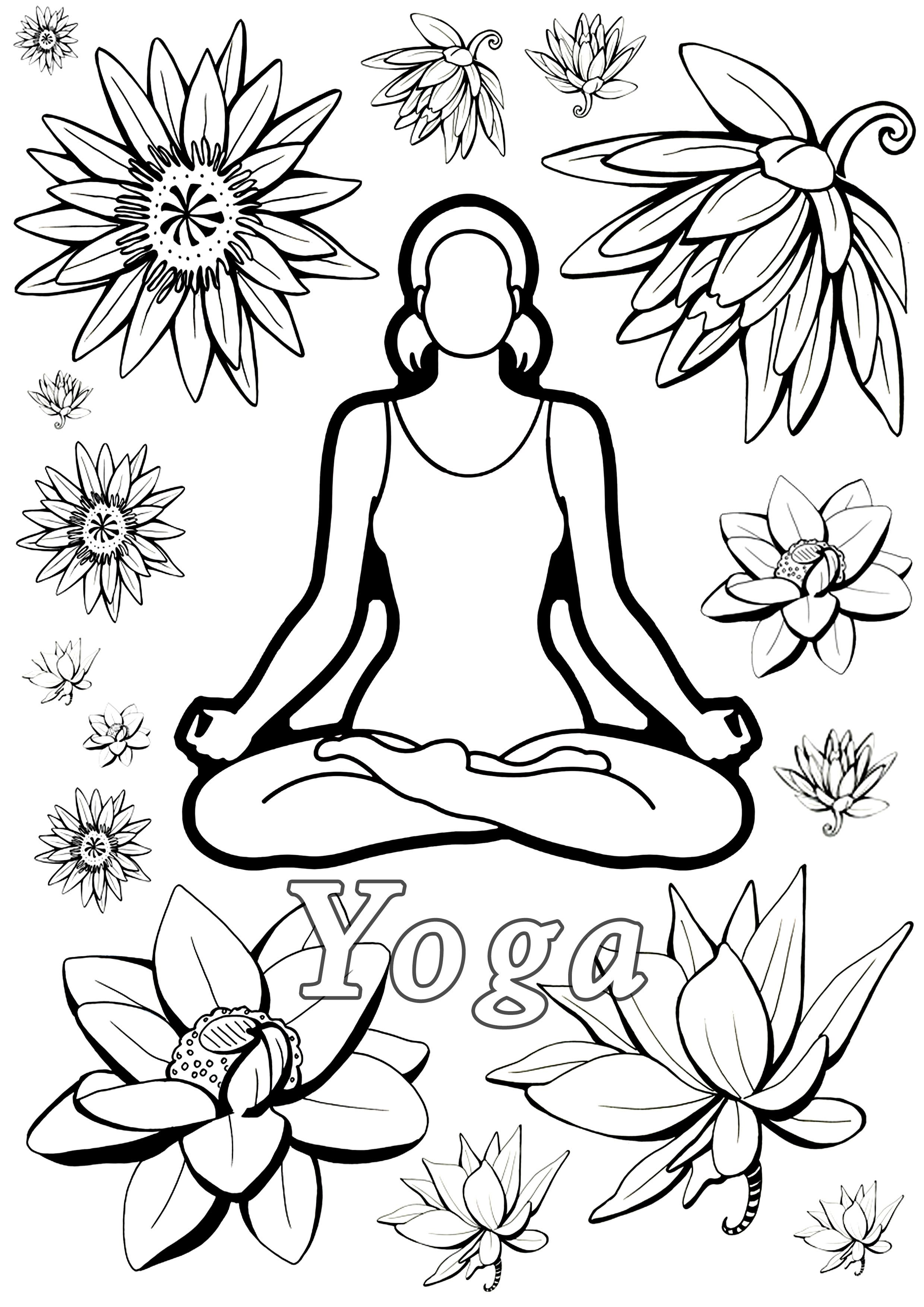 Coloring Page Inspired By Yoga Woman Meditating And Lotus Flowers From The Gallery Zen Mandala Coloring Pages Coloring Pages Flower Drawing [ 3508 x 2480 Pixel ]