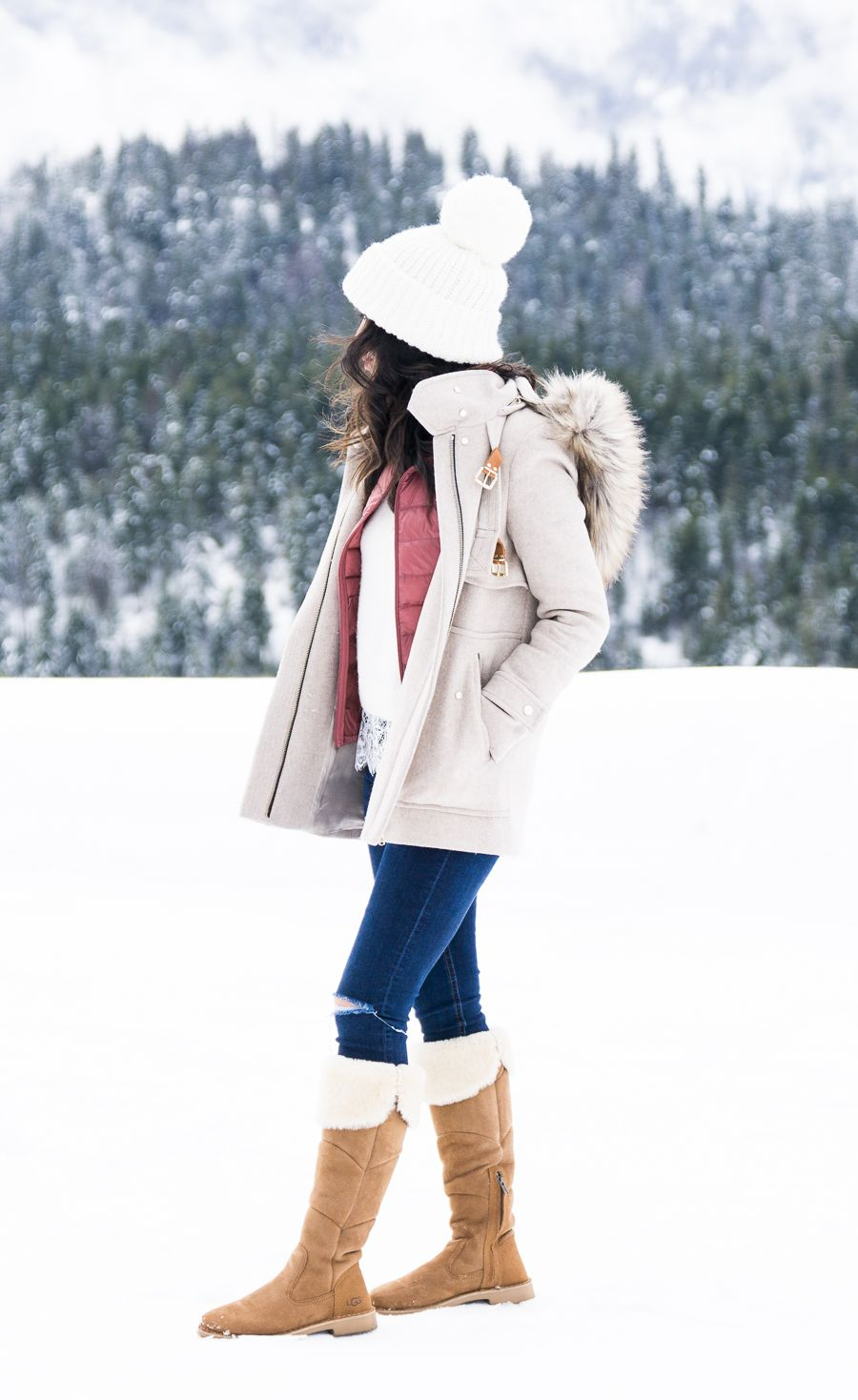 67d4208dd92f05 Cute winter outfit, Uniqlo womens puffer vest, pom pom beanie, UGG boots  outfit, petite fashion blog