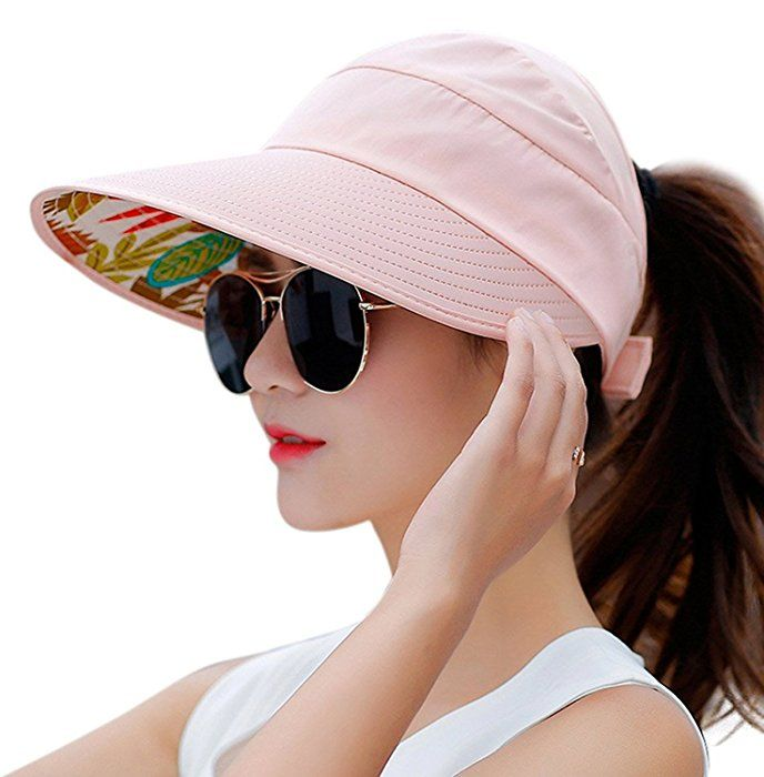 a0b10cc05 Muryobao Women's Sun Hats Foldable Wide Brim Roll Up Open Top Hat UV ...