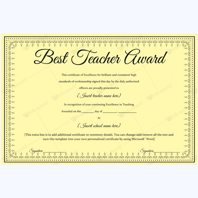 Best Teacher Award Certificate Template Sample Award Bestteacher