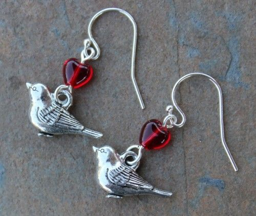 Love bird earrings - detailed pewter songbird charms, red glass hearts | NightOwlJewelry - Jewelry on ArtFire
