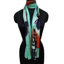 100%Silk Scarf Women Long Scarves Summer Abstract Print Free Shipping Defected