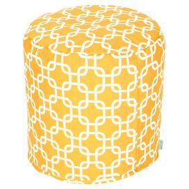 """Round pouf in yellow with a links motif and eco-friendly beanbag fill.  Product: PoufConstruction Material: Outdoor treated polyester cover, recycled polystyrene beads and waterproof denier baseColor: YellowFeatures: Suitable for indoor and outdoor useZippered slipcoverMade in USADimensions: 17"""" H x 16"""" DiameterCleaning and Care: Machine wash cover warm, tumble dry low or air dry"""