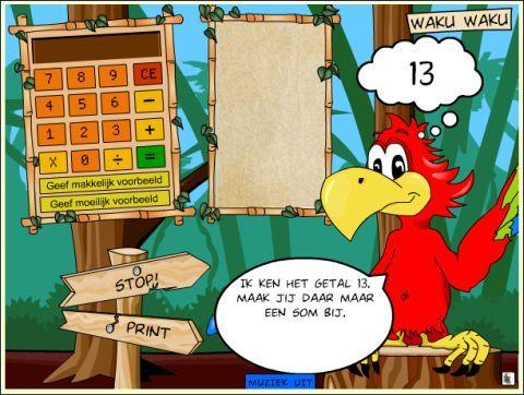Bekend Waku waku. Deze papegaai zegt het antwoord bij jouw gegeven som  IW55