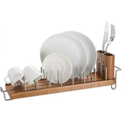 Bamboo dish rack and drainer bedbathandbeyond kitchen tools new better housewares drainforest bamboo dish rack drainer bar kitchen flatware workwithnaturefo
