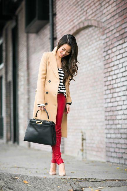 Classics: Beige coat & Striped blouse with Fendi peekaboo bag by Wendyslookbook