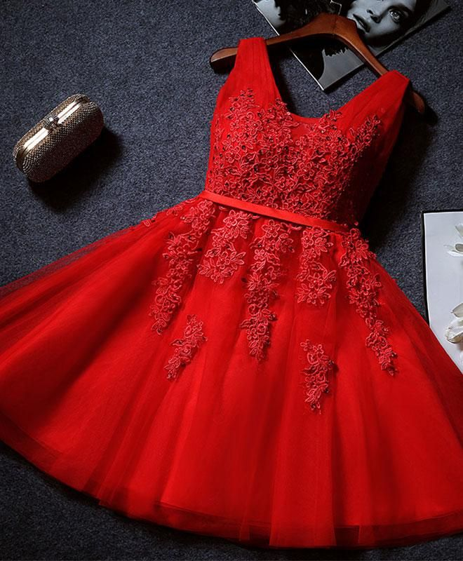 Beautiful Red Short Tulle Lace Applique Party Dres