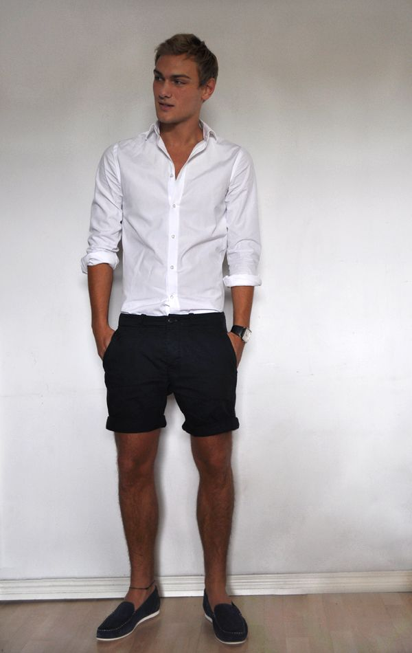 d563ca6b2728 simple   classic summer style w  white button-down shirt and shorts --  menswear look