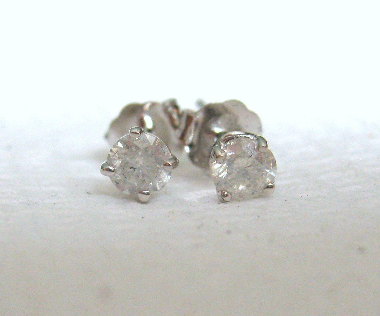 1/3 Ct Round Brilliant Cut 14K White Gold Diamond Stud Earrings - Diamond