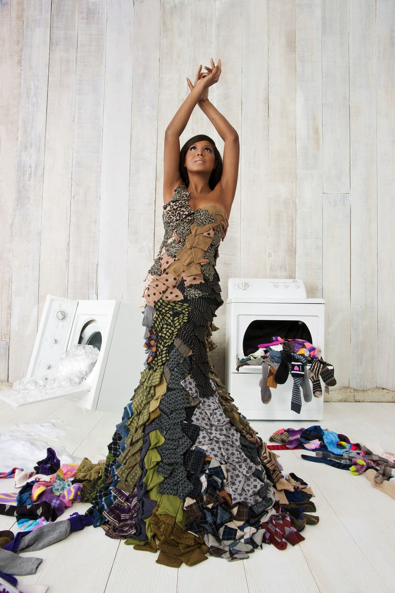Toni Braxton modeled a couture gown by Project Runway's Michael Costello  made entirely of socks, - Toni Braxton Modeled A Couture Gown By Project Runway's Michael