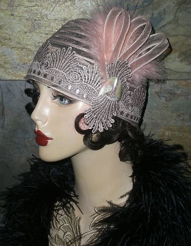 OOAK VTG ROARING 20s FLAPPER GIRL LACE CLOCHE HAT SKULL CAP FEATHER ... 6291bbfaac19
