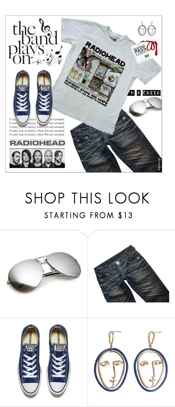 """""""I'm With the Band 🎸 Radiohead"""" by ultracake ❤ liked on Polyvore featuring Thomas Wylde, Music Notes, Converse, MANGO, fashiontrend, bandtees, radiohead and ultracake"""