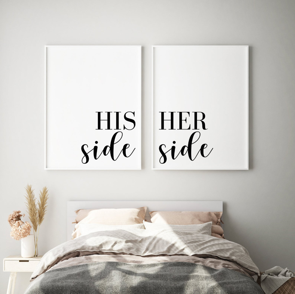 His Side Her Side Prints | Couples Bedroom Print | Above ...