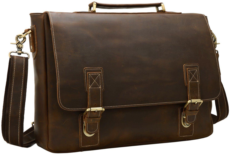 nice Iswee Laptop Briefcase for Men Leather Messenger Bag Flap-over Shoulder  Computer Case Traveling Satchel Bag (Deep Brown) 7404461d0af81