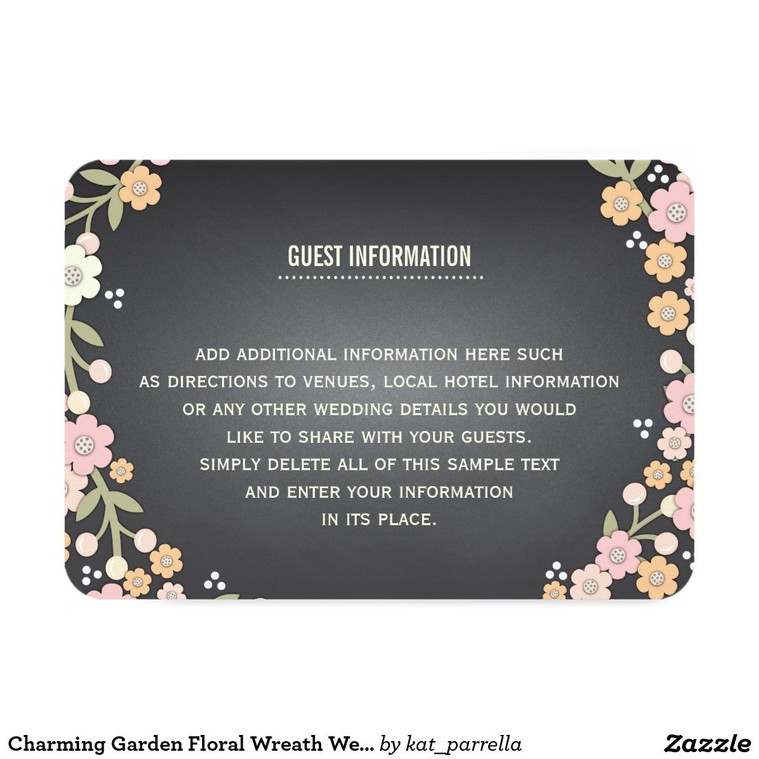Charming Garden Floral Wreath Wedding Info Card Floral Wreath And