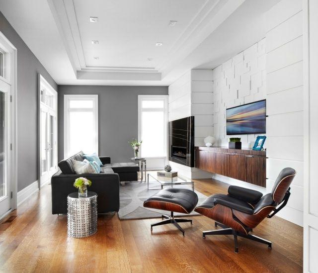 Wohnzimmer Wandfarbe Modern: Graue Wandfarbe Wohnzimmer Wohnideen Laminatboden