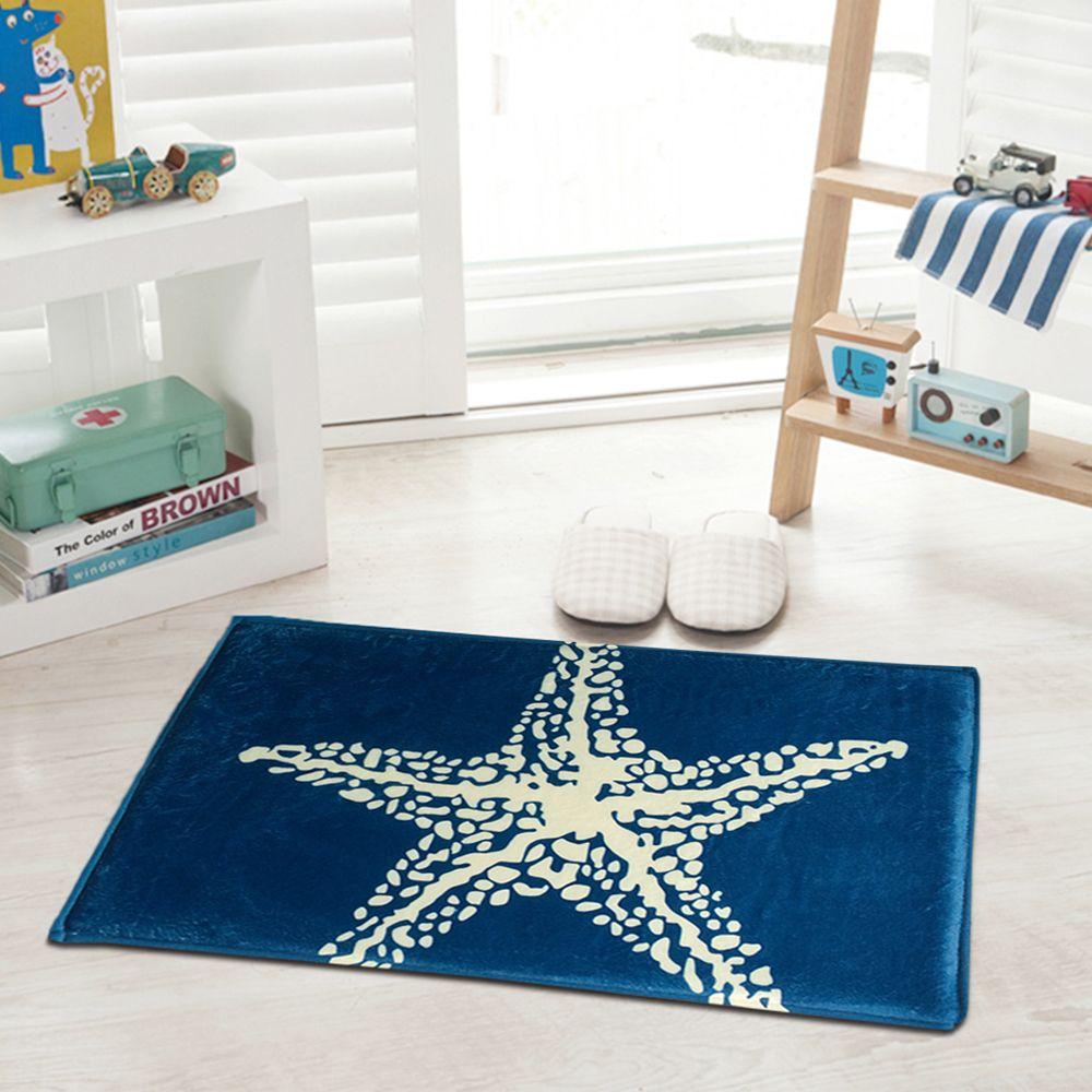 yazi Flannel Blue Starfish Kitchen Floor Mat Anti Slip Rug Soft ...