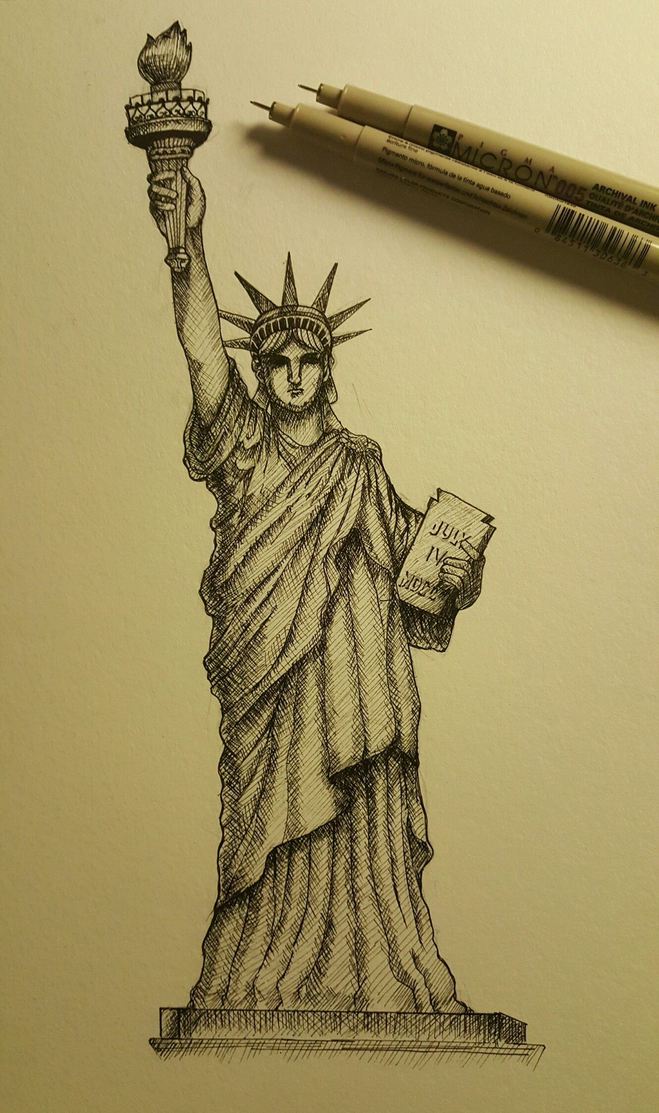 Statue of liberty cross hatching technique drawings in 2019