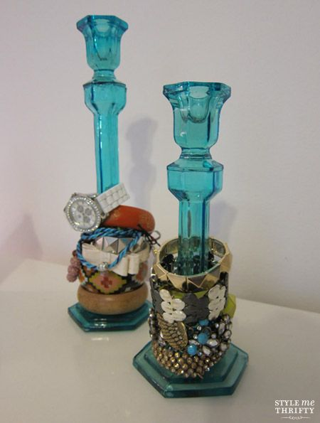 vintage candle stick holders to hold jewelry! good idea. so stylish too