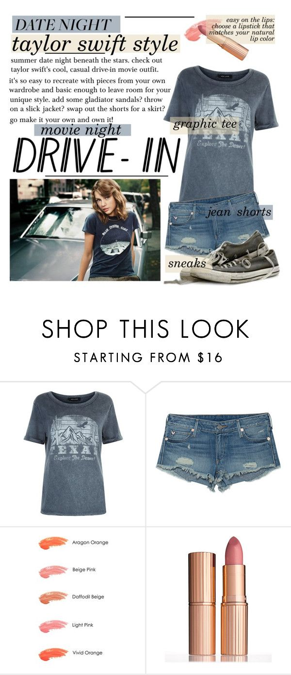 """""""Date Night: drive-in movie"""" by pianogirlzoe ❤ liked on Polyvore featuring New Look, True Religion, Anna Sui, Charlotte Tilbury, DateNight, drivein and summerdate"""