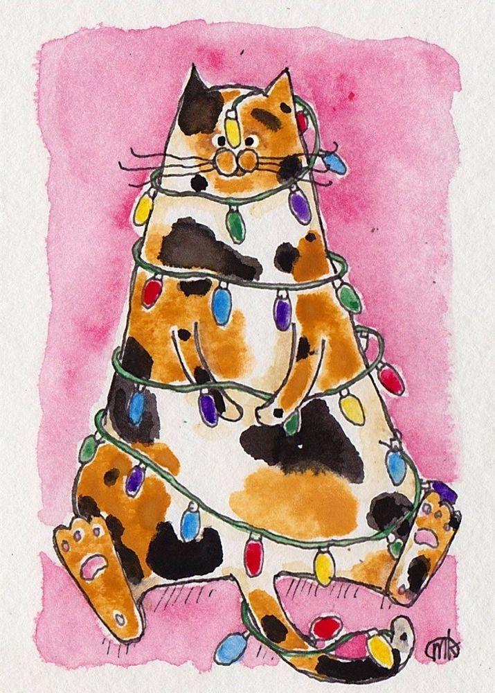 calico cat Christmas tree lights folk art pen watercolor ACEO original painting