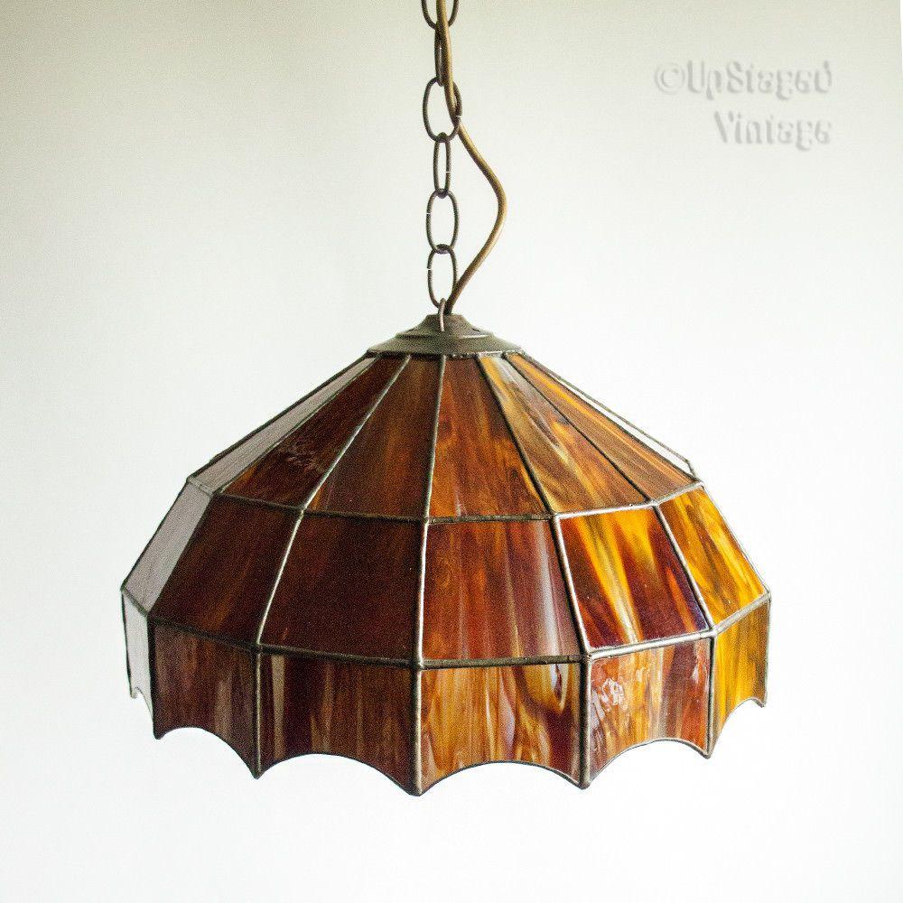 original 1920s 30s tiffany style tortoiseshell glass pendant light