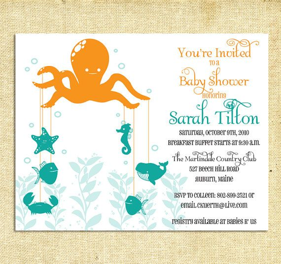 Octopus Garden Baby Shower Invitations By Trulynoted 30 00