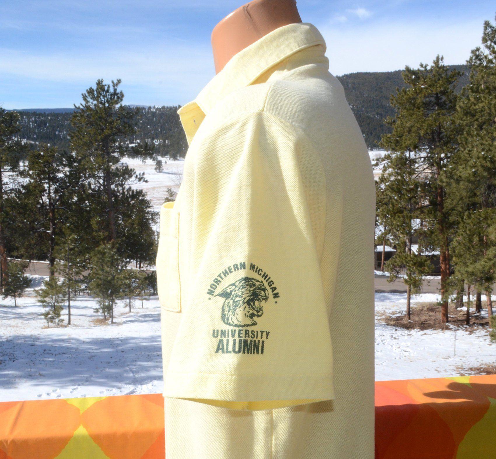 93b05c97 vintage 80s golf polo shirt NMU northern michigan university wildcat pocket  Medium Large