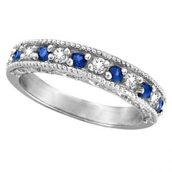 Designer Diamond And Blue Sapphire Ring Band 14k White Gold 0 59ct Blue Sapphire Diamond Ring Sapphire Rings Band Diamond Anniversary Rings