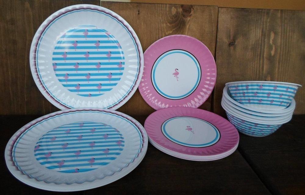 NICOLE MILLER PINK FLAMINGO TROPICAL MELAMINE 18 pc SALAD DINNER PLATES BOWLS\u2026 & NICOLE MILLER PINK FLAMINGO TROPICAL MELAMINE 18 pc SALAD DINNER ...