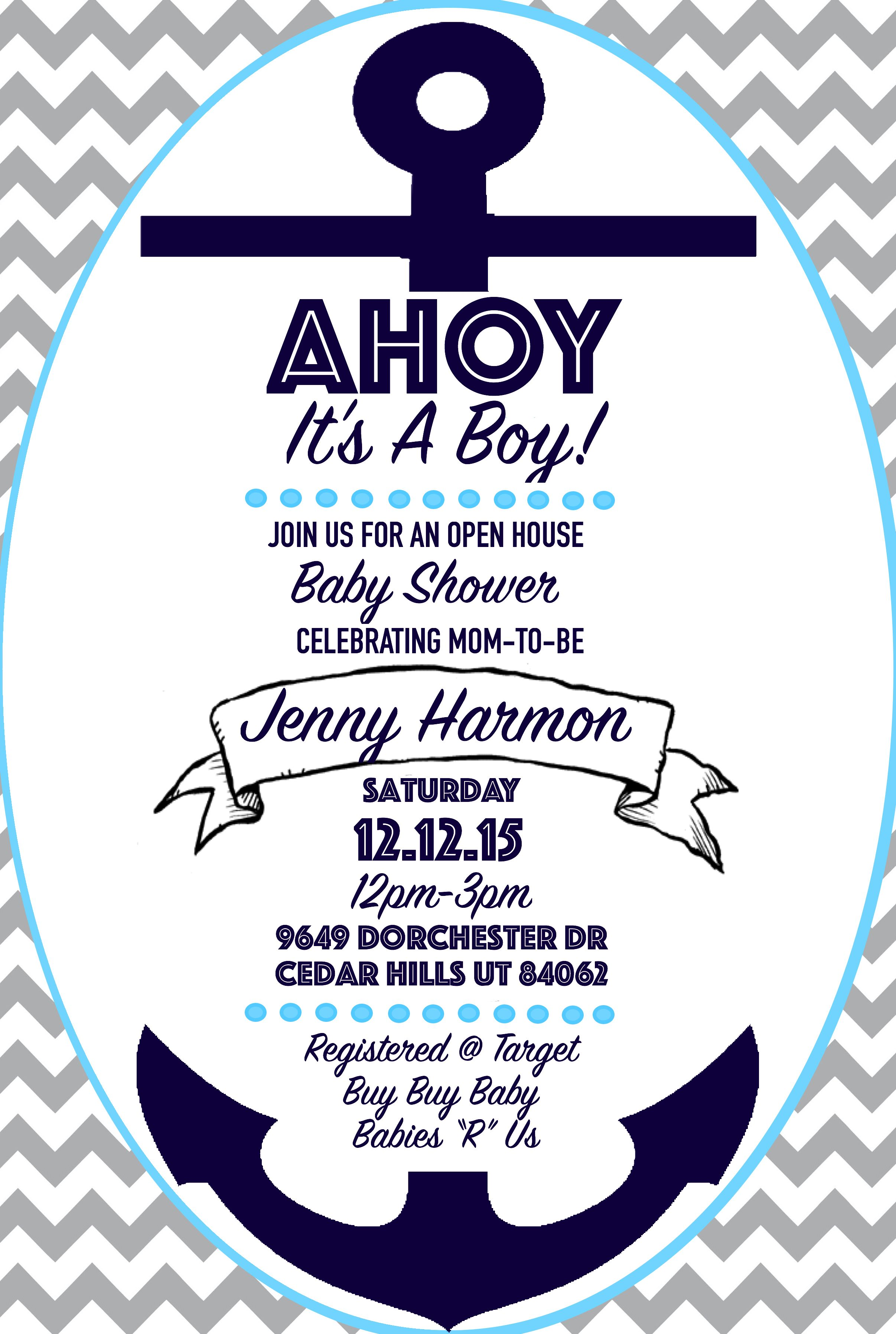 Baby Boy Nautical Shower Invitation, Ahoy it\'s a Boy, Anchors, Navy ...