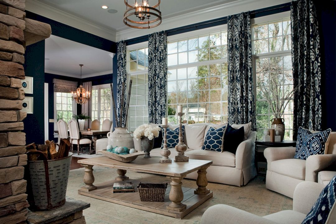 45+ Best Beautiful Navy & Brown Living Room Ideas ...