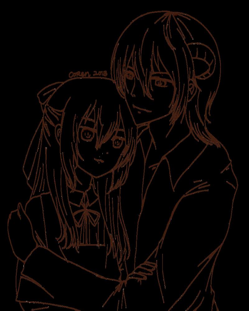 Demonic Anime Couple Lineart By Corenb Demon Drawings Anime Art Beautiful Anime Lineart