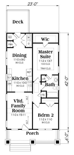 Floor plan - I would switch the kitchen and dining. I makes no sense to separate the dining from the living, and force people to have to walk through the kitchen to get to the eating area. If you had guests, they would be tripping you up while traveling back and forth between the dining and living. Otherwise, I really like this floorplan!