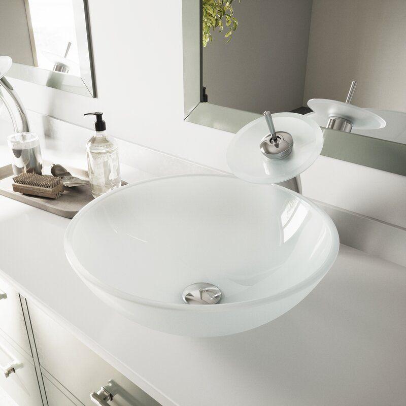 White Tempered Glass Circular Vessel Bathroom Sink In 2021 Glass Sink Glass Vessel Sinks Vessel Sink Bathroom
