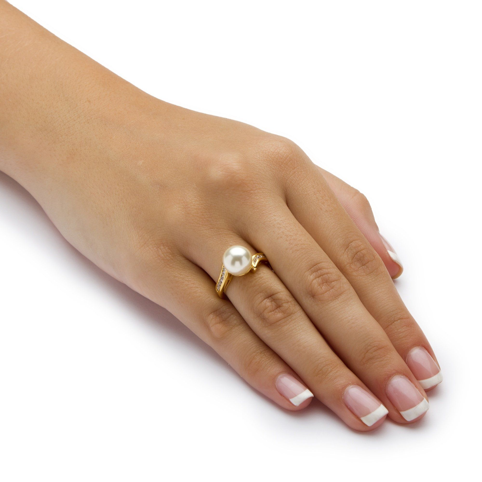 Round Simulated Pearl /& CZ Accent 18k Yellow Gold-Plated Ring