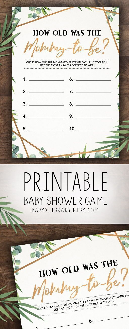 How Old Was the Mommy-to-Be, Baby Shower Game Printable, Baby Shower Instant Download, Gender Neutral Baby Shower Game, Greenery Baby Shower