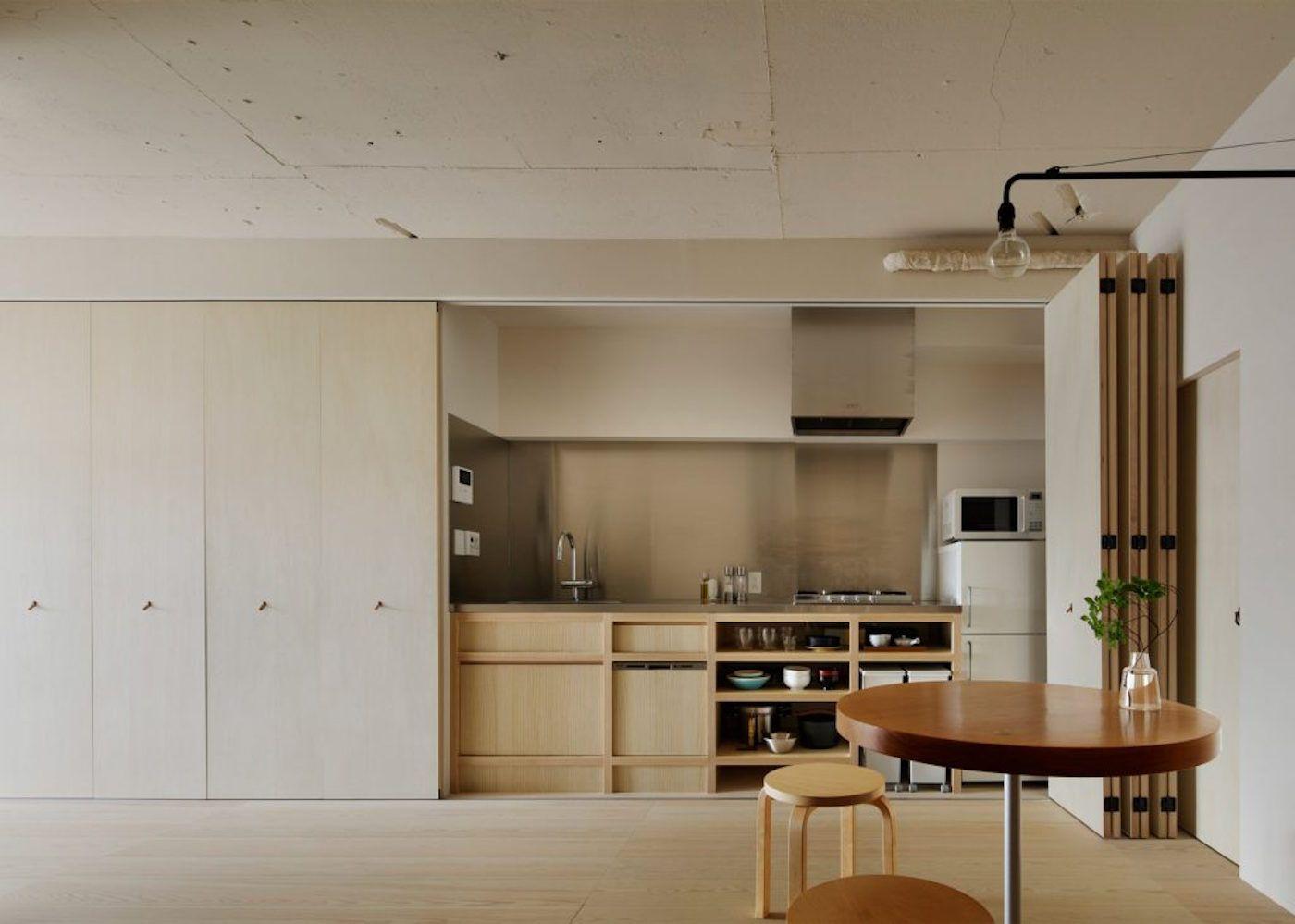 apartment in kitasando interior design kitchen apartment interior hidden kitchen on kitchen interior japan id=39404