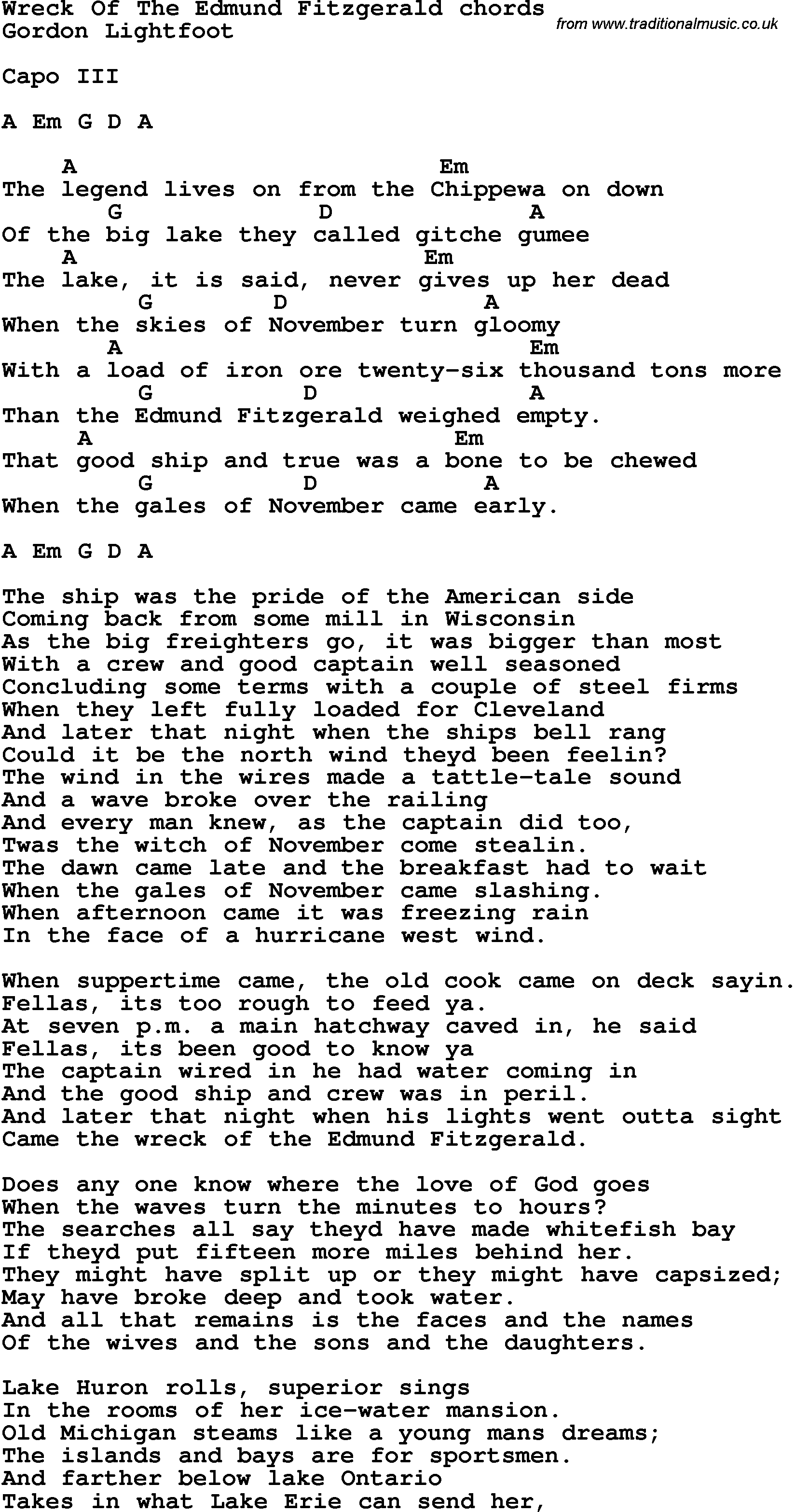 Song Lyrics With Guitar Chords For Wreck Of The Edmund